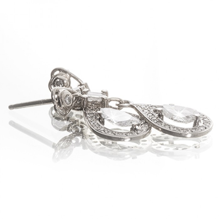 Drop Ear Studs in 9ct White Gold With Diamonds