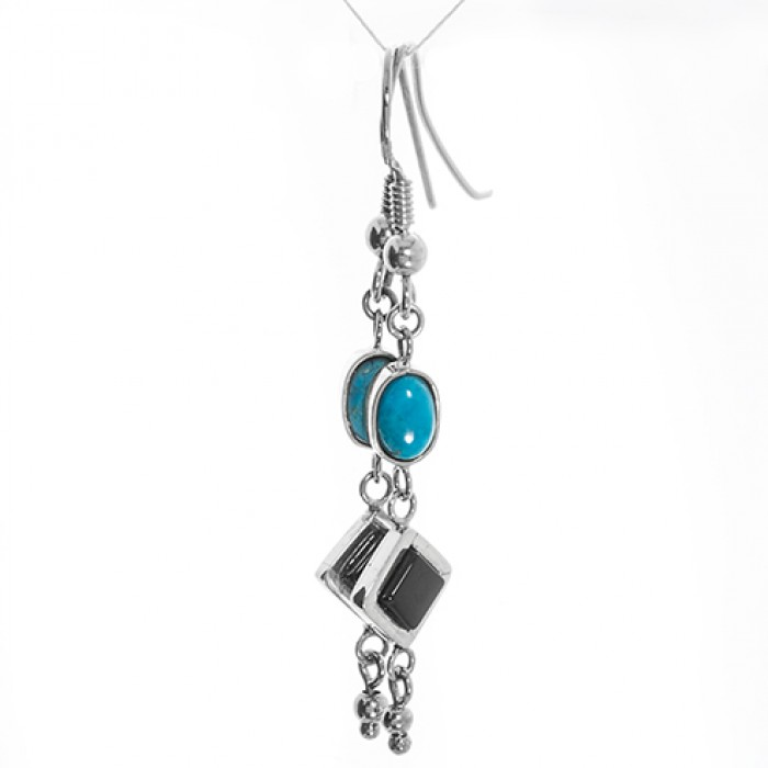 Earrings in 9ct White Gold, Silver With Onyx and Turquoise