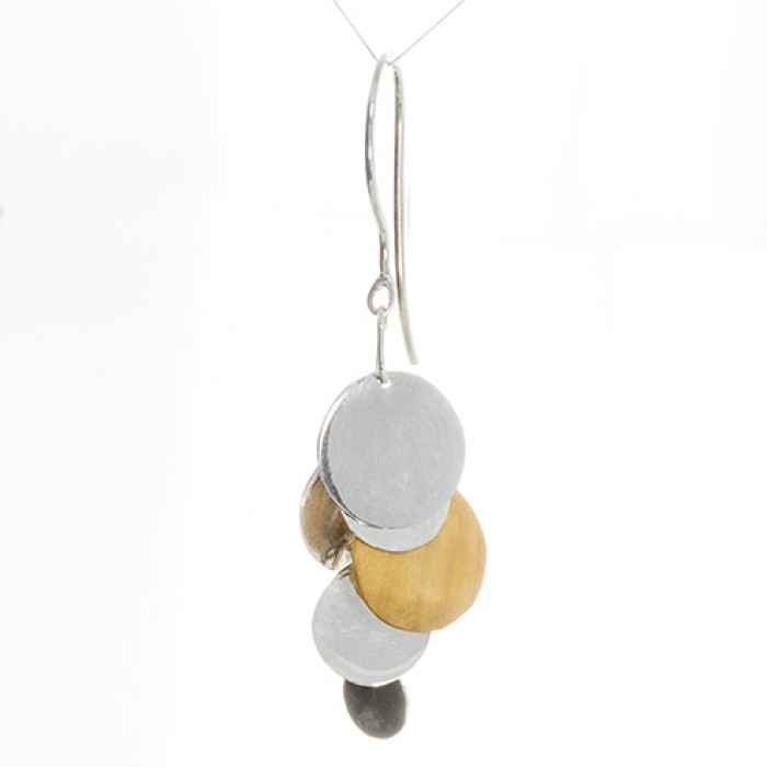 Earings Made From Silver and Wood