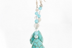 Earrings Handmade From Turquoise and Silver With Matching Necklace and Bracelet