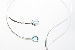 Neck-Piece in Silver With Natural Blue Topaz