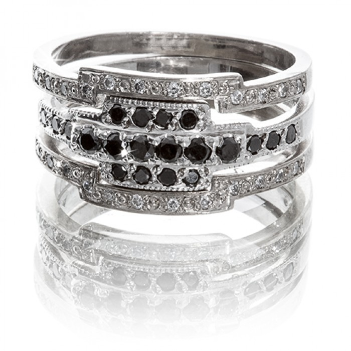 11Ring in 9ct White Gold With Black & White Diamonds