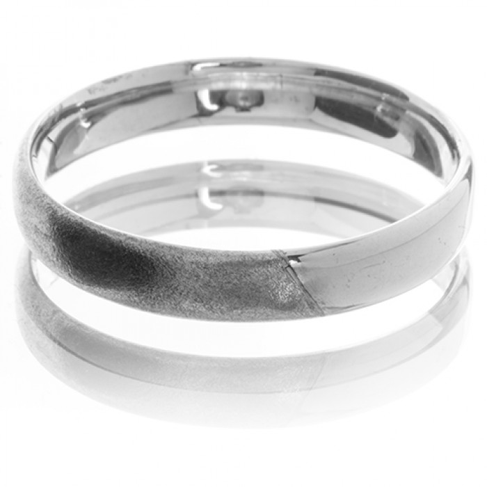 Men's Wedding Band in 9ct Matt and Shiny White Gold