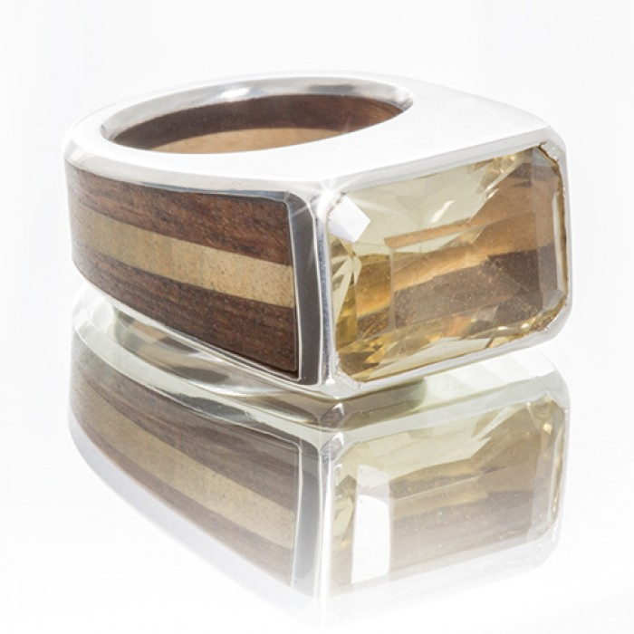Silver Men's Ring With Wood and Citrine