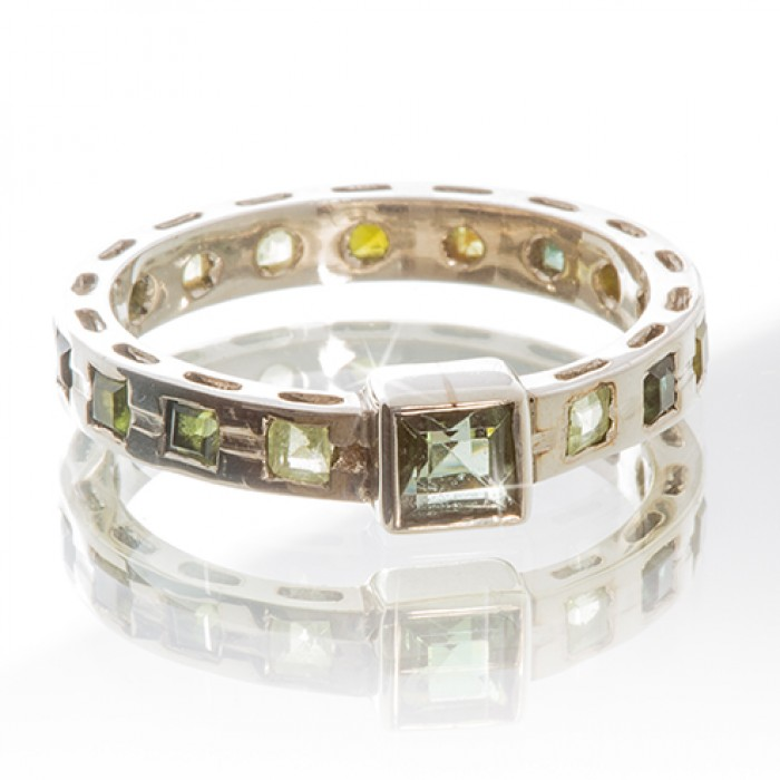 Silver Ring With Tourmaline and Peridot