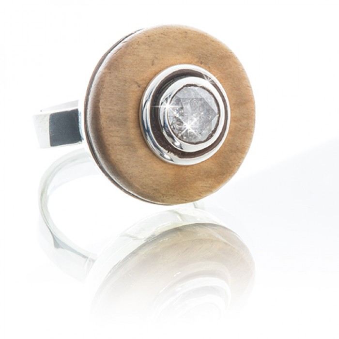 Silver Ring With 1.4ct Diamond and Wood